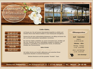 Website Restaurant PARADIES - Speyer